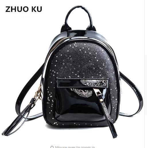 2018 Girls School Bag Women Mini Glitter Backpack Female Small Leather Bag  Stylish Back Pack Backpacks for Teenagers