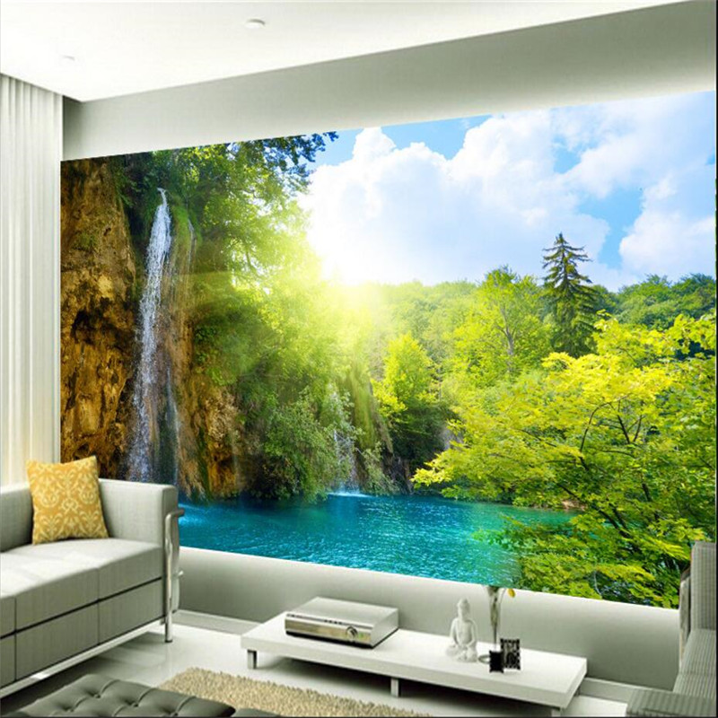 scenic 3d wall waterfall background mural living sun resort morning lake custom wholesale waterfalls bedroom painting paper landscape natural beauty