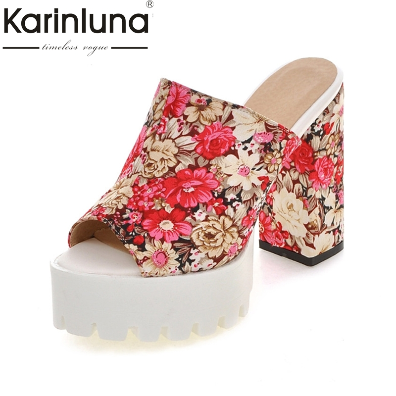 KARINLUNA Brand New Big Size 32-43 Flowers Printing Peep Toe Woman Mules Pumps Platform Fashion Square High Heel Shoes Women