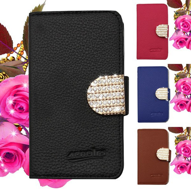 Wallet PU Leather Crystal Rhinestone Case For ZTE Warp 7 N9519 Bling Phone Bag Cover Free DHL