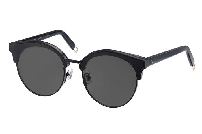 Damen Objektiv Zwei 2017 Eye Bunte Green Marke Oval Sanfte Zeichen black red Von beige Sonnenbrille Rahmen Frauen Cat Halb Spiegel Designer vfOvqa