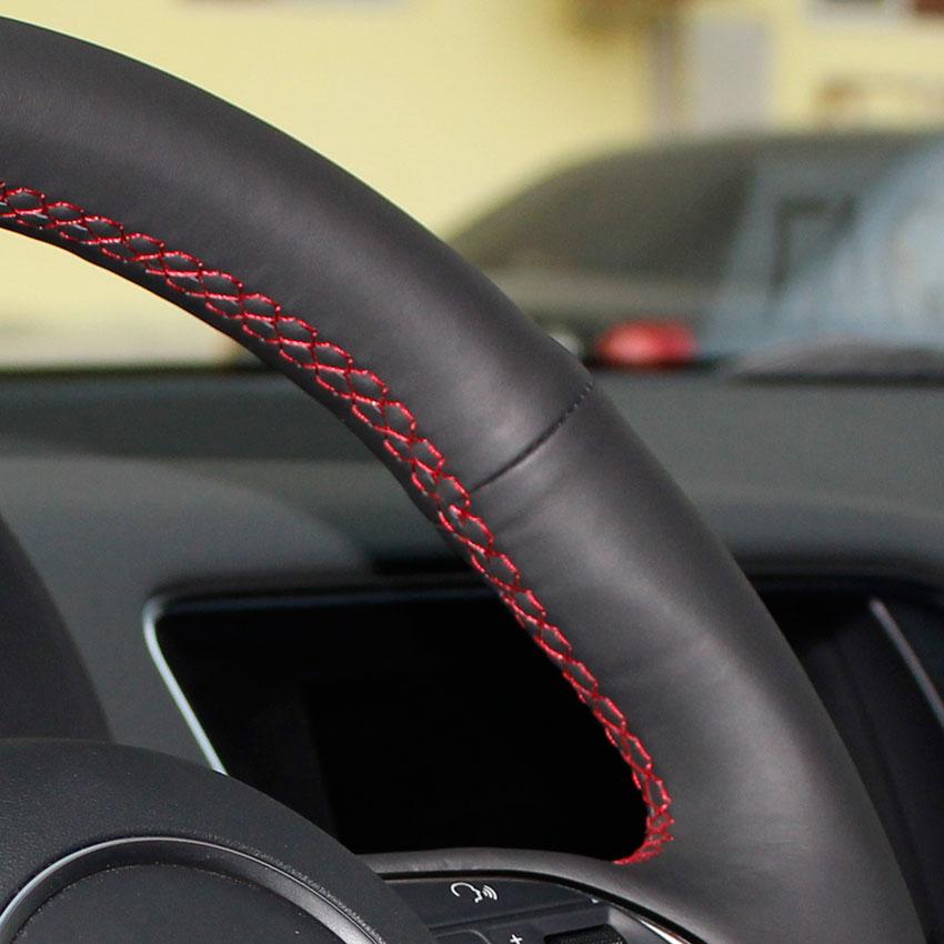 Yuji-Hong Чехлы рулевого колеса автомобиля чехол для VOLVO S80 S80L XC60 2010-2013 натуральная кожа Авто покрытие ручной работы автомобиля-Стайлинг - Название цвета: Red Thread No hole