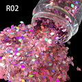 Moda de acrílico de 2 mm dedos de uñas UV decoración de uñas herramienta Glitter 7 color púrpura rómbico Diamondoid Nail art Glitter powder R02