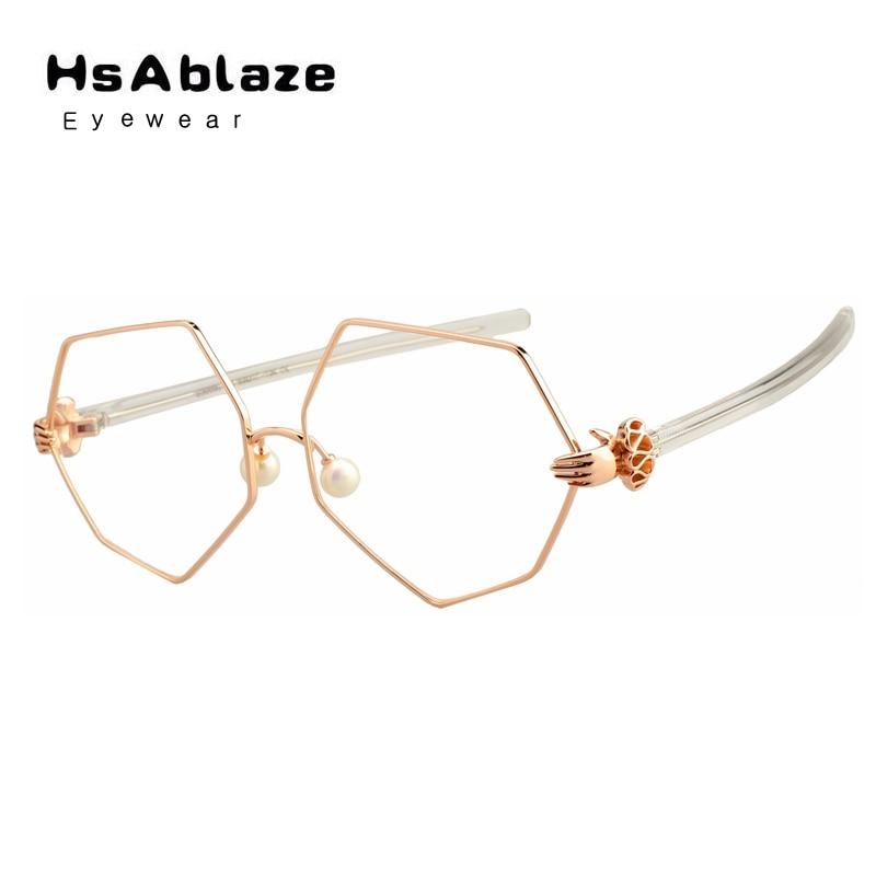 HsAblaze Eyewear Brand Women Hexagon Optical Glasses Spectacle Frame Eyeglasses Pearl Bazoo Holds Hand Shape Glasses Frame