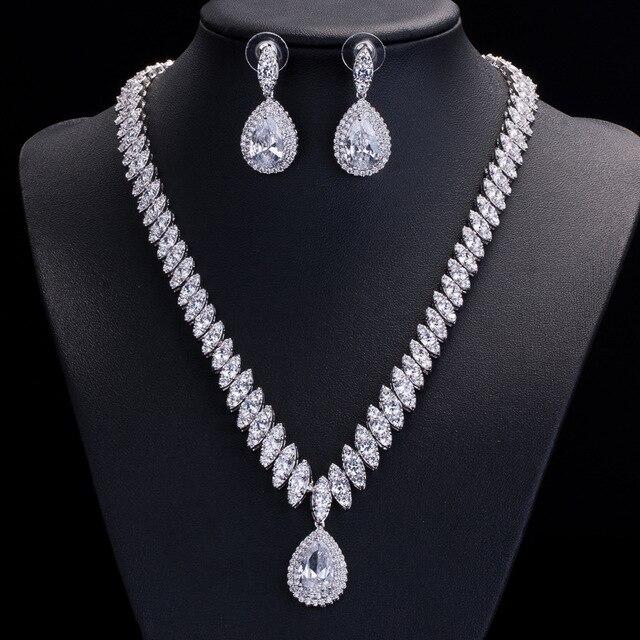 Высокое качество кубического циркония свадебное ожерелье и серьги Роскошный Кристалл Свадебные Ювелирные наборы для подружек невесты