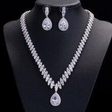 Yüksek kaliteli kübik zirkonya düğün kolye ve küpe lüks kristal gelin takı setleri nedime için