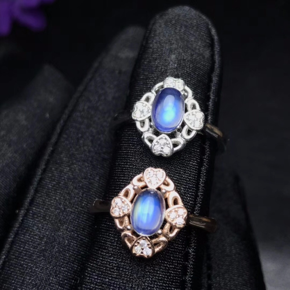 Uloveido Adjustable Rose Gold Color Exquisite Natural Blue Moonstone Ring Flower Shape Gemstone Ring for Women