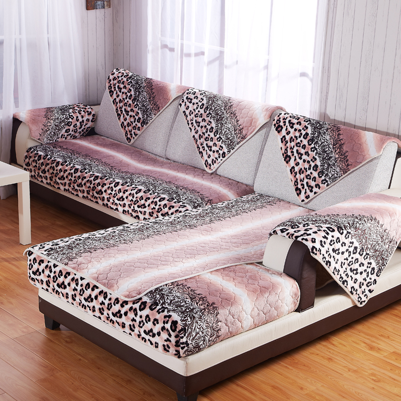 Winter Warm Flannel Sofa Cover Leopard Print Couch Covers