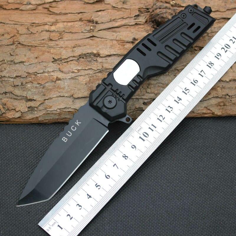 New BUCK Survival font b Knife b font 440C Steel Blade Pocket Folding Knifes font b