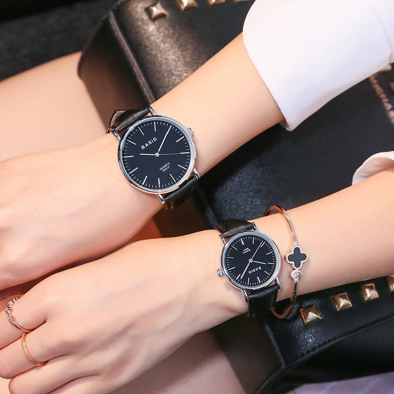 2017 BASID Brand Couple Watches For Lovers Pair Quartz Wrist Watch Fashion Waterproof Men Women Wristwatches Student Gift