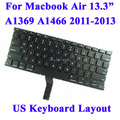 "Free Shipping For Macbook Air 13.3"" A1369 A1466  Keyboard US Keyboard Layout 2011 2012 2013 MC965 MC966 MD231 MD232 MD760 MD761"