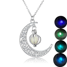 2019 Hollow Moon Glow in Dark Unisex Pendant Necklace Silver Plated Charm Women Pendant  Luminous Stone Necklace  Women Jewelry new luminous stone necklace fashion hollow animal shape glow in the dark pendant necklace charm halloween jewelry for women gift
