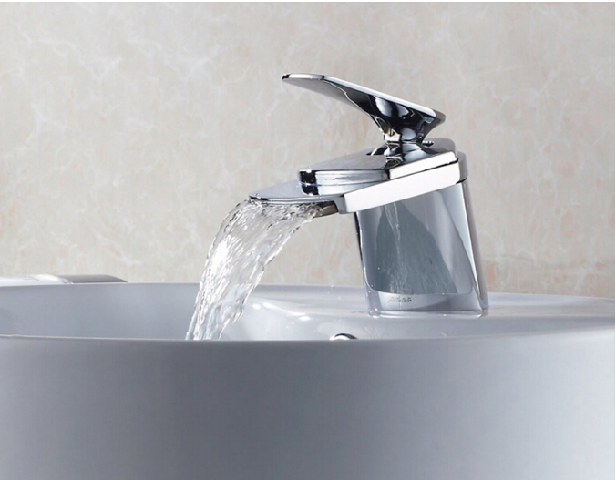 fashion high quality unique design cold and hot bathroom waterfall sink faucet basin faucet  tap mixer with 50 cm plumbing hose