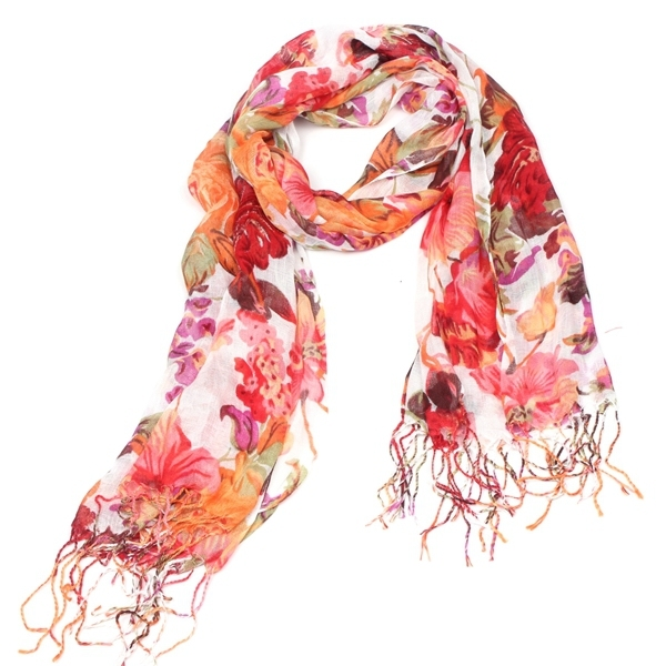 Floral Cotton Fringed Scarf | Lightweight Scarves | Up to 60% Off Now