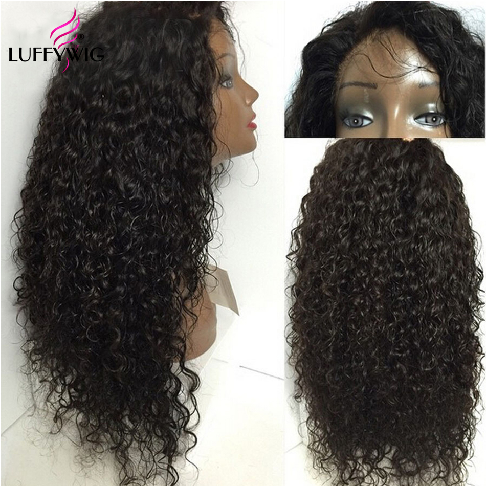 LUFFYHAIR Curly 13X6 lace Front Human Hair Wigs Pre plucked Mongolian Remy Hair With Baby Hair For Women