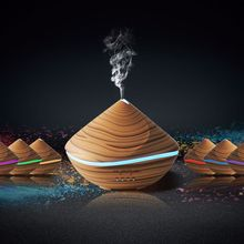 500ml Aromatherapy Air Humidifier Aroma Essential Oil Diffuser with Wood Grain 7 Color Changing LED Lights for Office Home