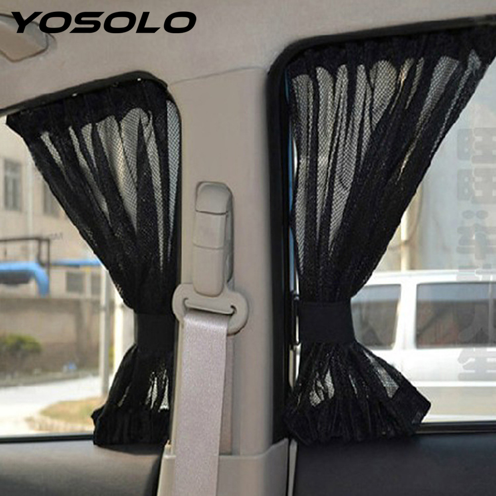 YOSOLO 2Pcs Car Curtain Car Sun Shade Cover For Front Side Ws