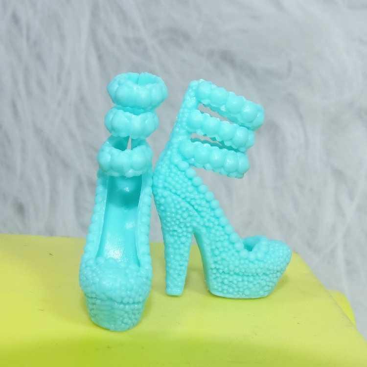 Bán buôn Ban Đầu 1 cặp Dịu Dàng màu xanh lá cây cao gót giày công chúa cổ điển giày dép cho Búp Bê Barbie giày 1/6