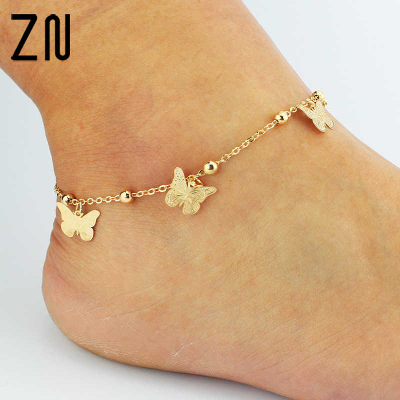 ZN Gold Bohemian Anklet Beach Foot Jewelry Leg Chain Butterfly Dragonfly anklets For Women Barefoot Sandals Ankle Bracelet feet