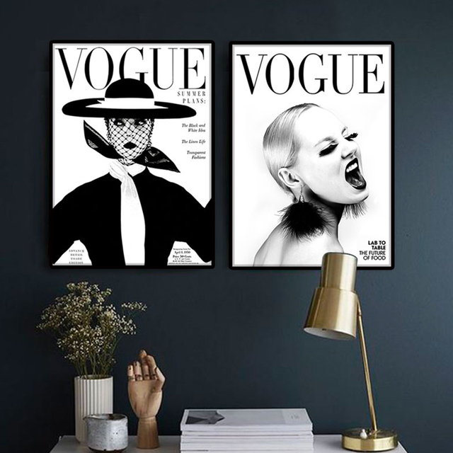 nordic poster modern fashion 4 piece canvas art wall portrait home decor vogue 1950 magazine cover - Vogue Decor Magazine