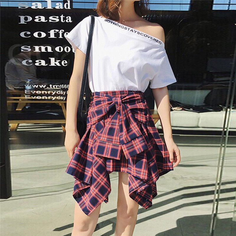Women's Plaid Skirts Vintage High Waist Pocket Bow Belt sexy Skirt Lace-Up Boho Summer lady Skirt Asymmetrical