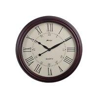 European high grade watch vintage brown wooden wall clocks Roman numerals circular home decoration large wall clocks personality