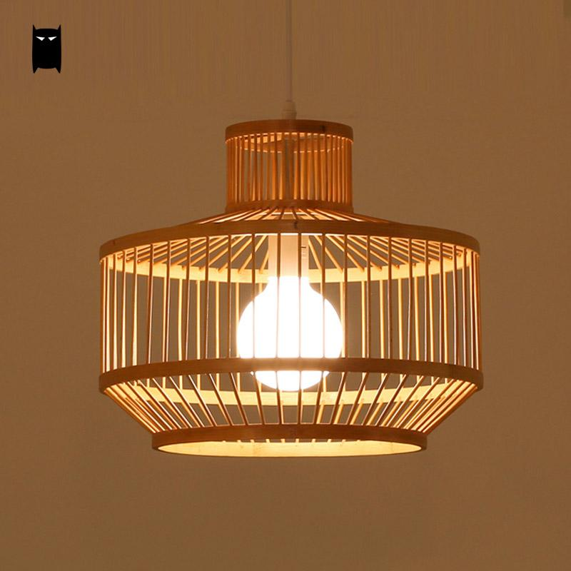 Black Natural Bamboo Wicker Rattan Shade Cage Lantern Pendant Light Fixture Asian Rustic Japanese Style Lamp Dining Table Room bamboo wicker rattan miss skirt shade pendant light fixture nordic art deco suspension lamp luminaria salon dining table room