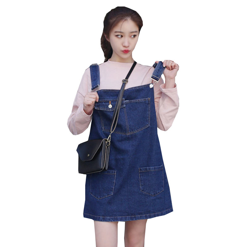2018 Spring Summer Women Denim Strap Dress Loose Plus size Suspenders Dresses Fashion Fat MM Female Jeans Dress Vestidos WZ482