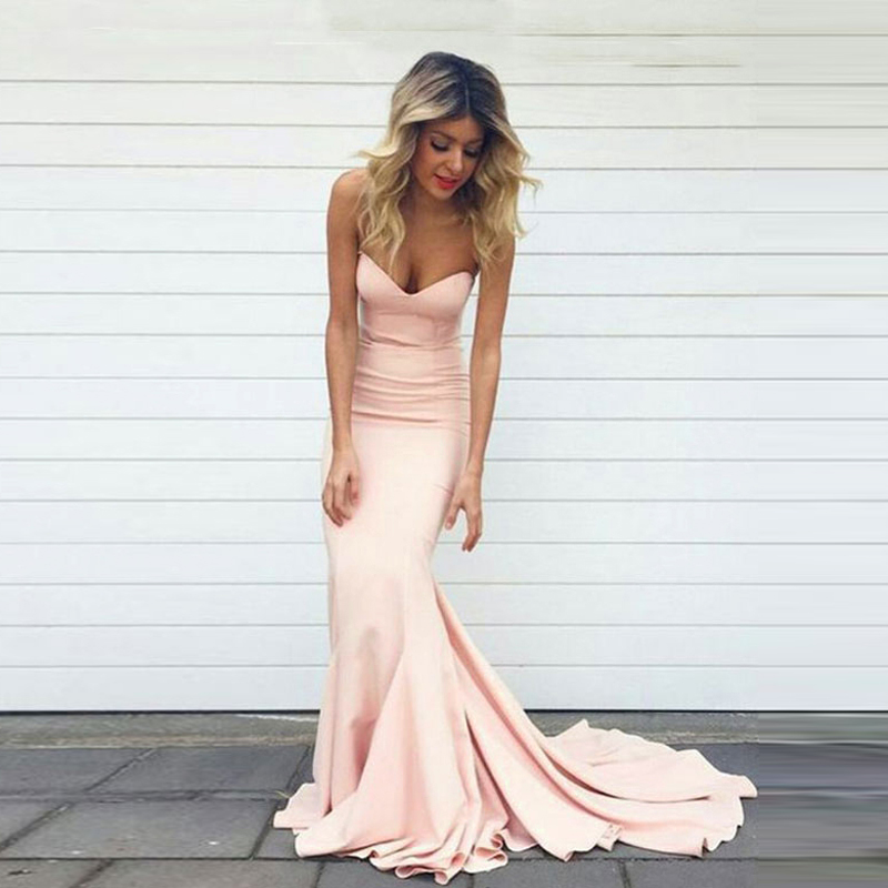 Simple Mermaid Blush Pink   Evening     Dresses   Long Sweetheart   Evening   Gowns For Women Plus Size Cheap Strapless Prom Party   Dresses