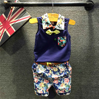 Kids Boys Casual Clothing Set Baby Boy Dark Blue Floral Printed T Shirt And Floral Short