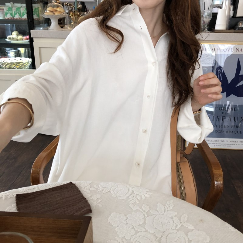 Blue Long Sleeve Long Shirt Dress Spring Casual Patchwork White cotton Dresses Collar Buttons Loose Dresses Robe Femme Vestido 28