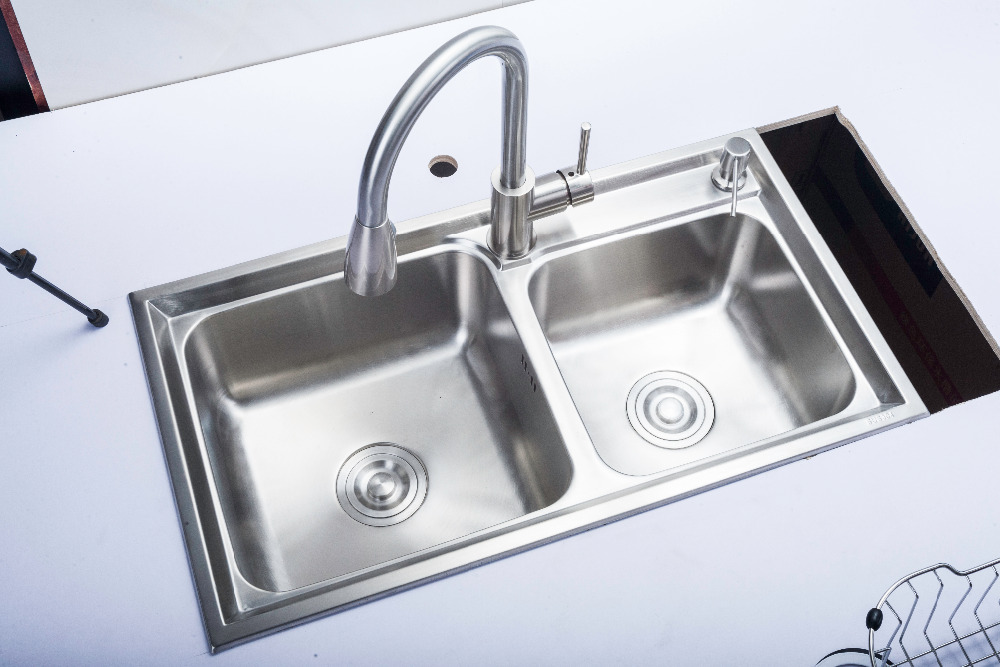 (680*390*220mm) Cobbe 304 acier inoxydable brossé évier mélangeur Undermount Double bol évier ensemble pour cuisine rectangulaire évier - 3