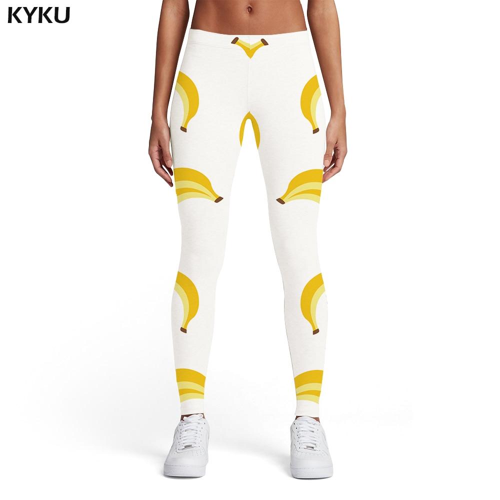 KYKU Banana Leggings Women Fruit Sexy White Elastic Harajuku Leggins Abstract Sport Womens Leggings Pants Casual Fashion Skinny