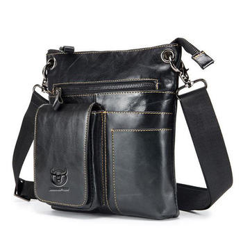 Bullcaptain 2018 New Men Multifunctional Small Business Genuine Leather Casual Black Fashion business Shoulder Crossbody Bag