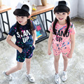 Preax Kids New girl set summer Children Clothing Cotton Cartoon Letter Girls Clothing sets Casual Short-sleeve set boy