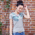 High Quality Winter Spring Women's Short Sleeve V-neck T-shirt Embroidered Soft Cotton T Shirts Female Tops Plus Size 3XL JA2428