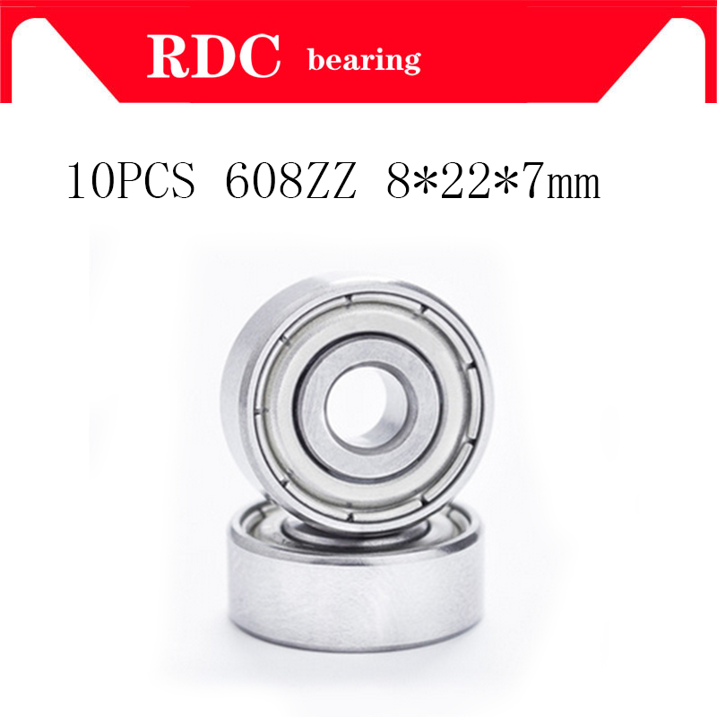 High quality 10pcs ABEC-5 608ZZ Deep groove ball bearing 608 ball Bearing 608 2Z metal Sealed 608 608Z 608ZZ 8*22*7 non standard special ball bearing 608 630 8 2rs1 630 8 bearing thick b8 74d 8x22x11mm bearing