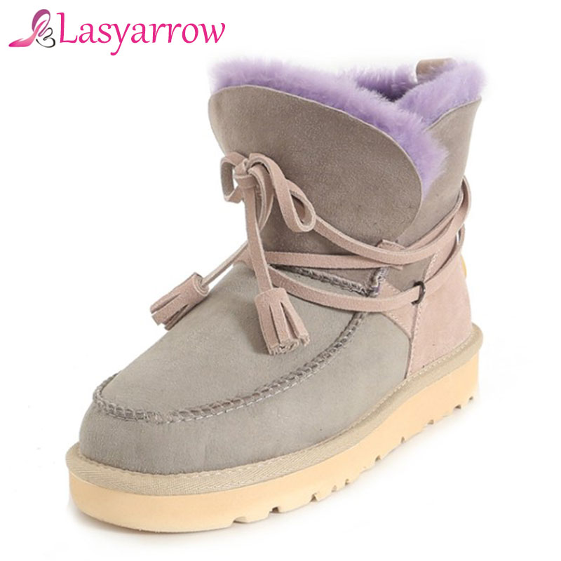 Lasyarrow Warm Fur Snow Boots Women Height Increasing Lacing Woman Shoes Winter Platform Ankle Boots For Woman Botas Mujer RM138 2016 rhinestone sheepskin women snow boots with fur flat platform ankle winter boots ladies australia boots bottine femme botas