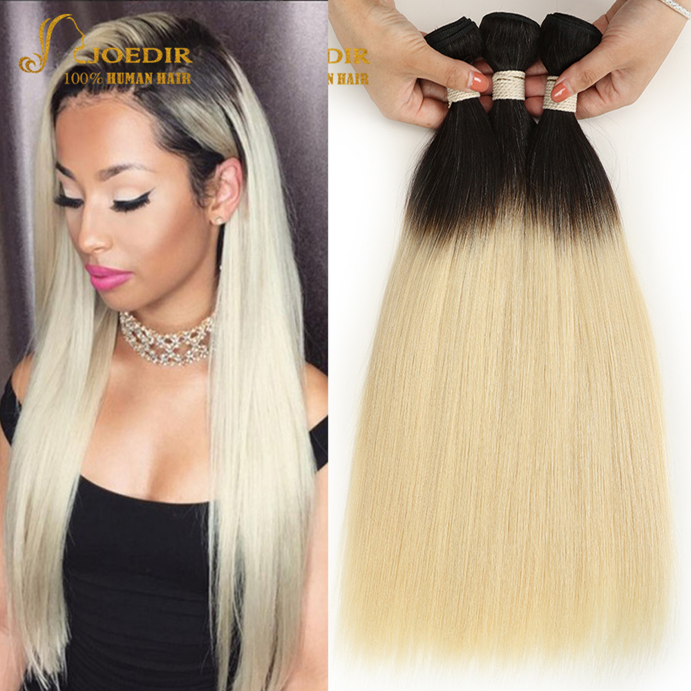 Hair Extensions & Wigs Hair Weaves Joedir Pre-colored 3 Bundles Ombre Brazilian Straight Hair Blonde Bundles T1b 613 Color Two Tone Remy Human Hair Weave Bundles Preventing Hairs From Graying And Helpful To Retain Complexion