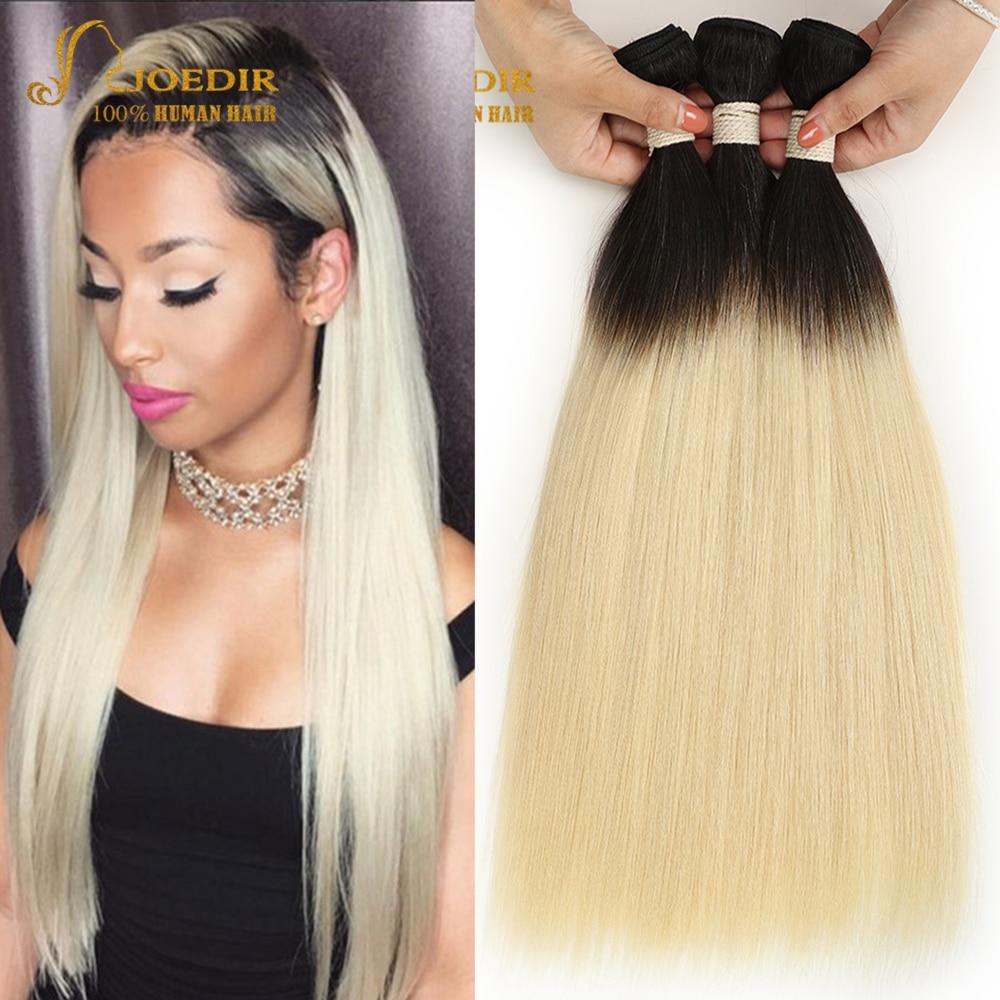 Joedir Pre-colored 3 Bundles Ombre Brazilian Straight Hair Blonde Bundles T1B 613 Color Two Tone Remy Human Hair Weave Bundles