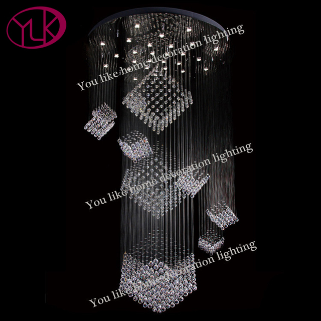 Cube Crystal Chandelier Lighting Large Staircase Cristal Lamps Round Led String Light Fixture Flush Silver Hanging