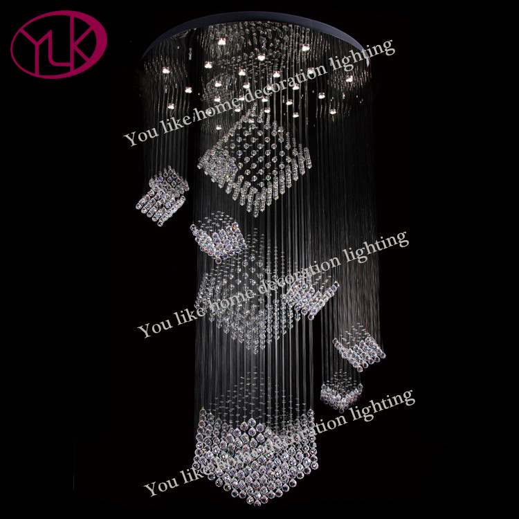 Cube Crystal Chandelier Lighting Large Staircase Cristal Lamps Round LED String Light Fixture Flush Silver Hanging Chandeliers