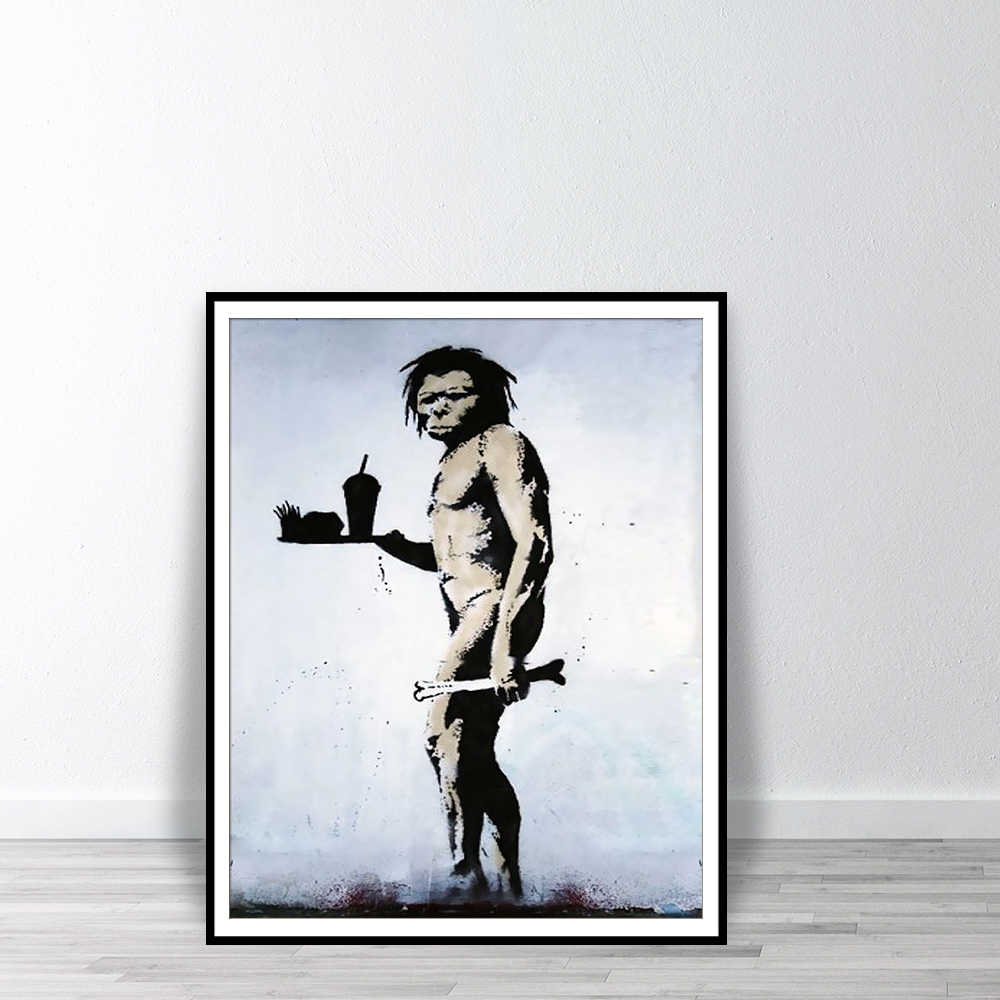 Banksy Caveman fast food Street Graffiti Printable Painting Wall Art Decoration Posters And Prints