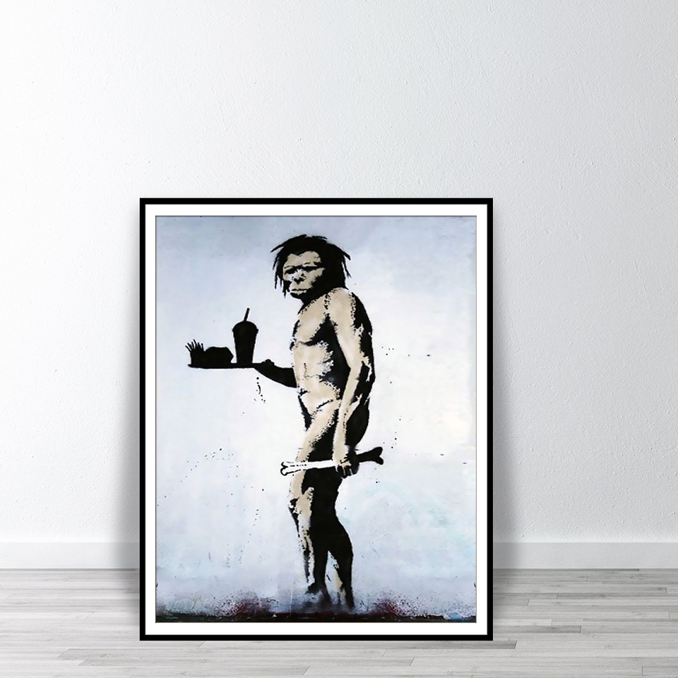 Dekoration Wall Stickers Caveman With Fast Food Xl Version 2 Banksy Many Colours New Mobel Wohnen Elin Pens Ac Id