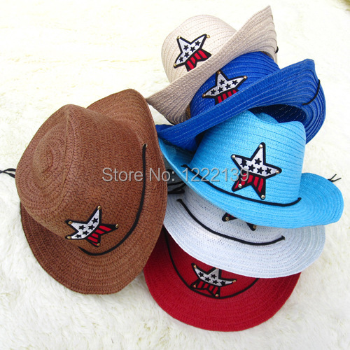 Accessoires Wholesales Children Straw Cowboy Kids Bucket Hats Five Pointed Star Fedoras Straw Boy Cap Husten Heilen Und Auswurf Erleichtern Und Heiserkeit Lindern Jungen Kleidung