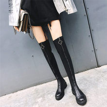 NAYIDUYUN   Thigh High Boots Womens Black Leather Knee High Booties Med Heel Tall Shaft Punk Platform Oxfords Chic Riding Boots