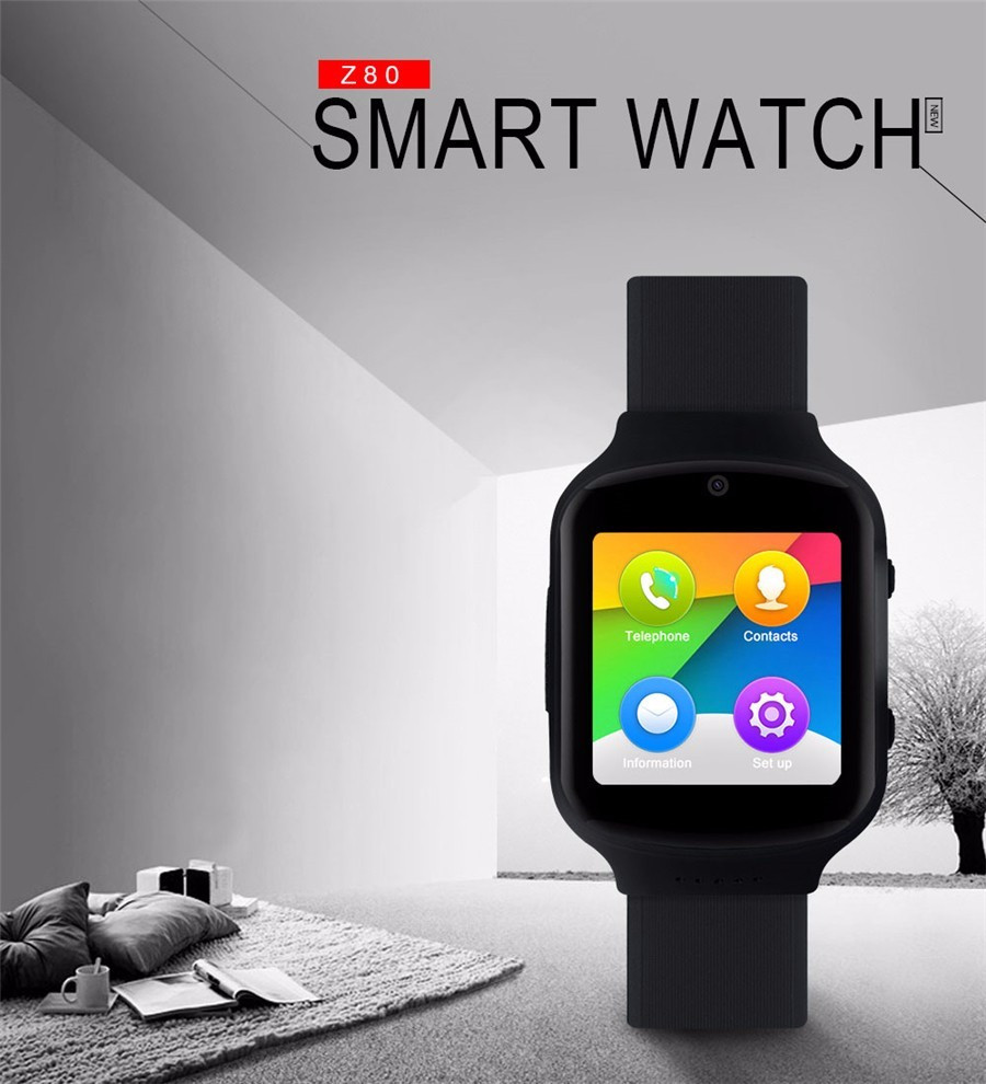 Z80 Smart Watch Android 5.1OS MTK6580 Quad Core Smartwatch With 3G wifi Bluetooth GPS  Heart Rate Monitor For Smartphone