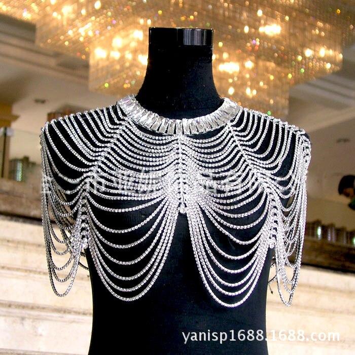 2017 novo e luxuoso de noiva ombro chains noble casamento jewery corpo cheio de strass mulheres alças de ombro