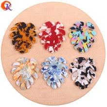 Design cordial 38*46mm 50 pçs acessórios de jóias/brincos que fazem/forma de folha/peças diy/feitos à mão/componentes de descobertas de jóias