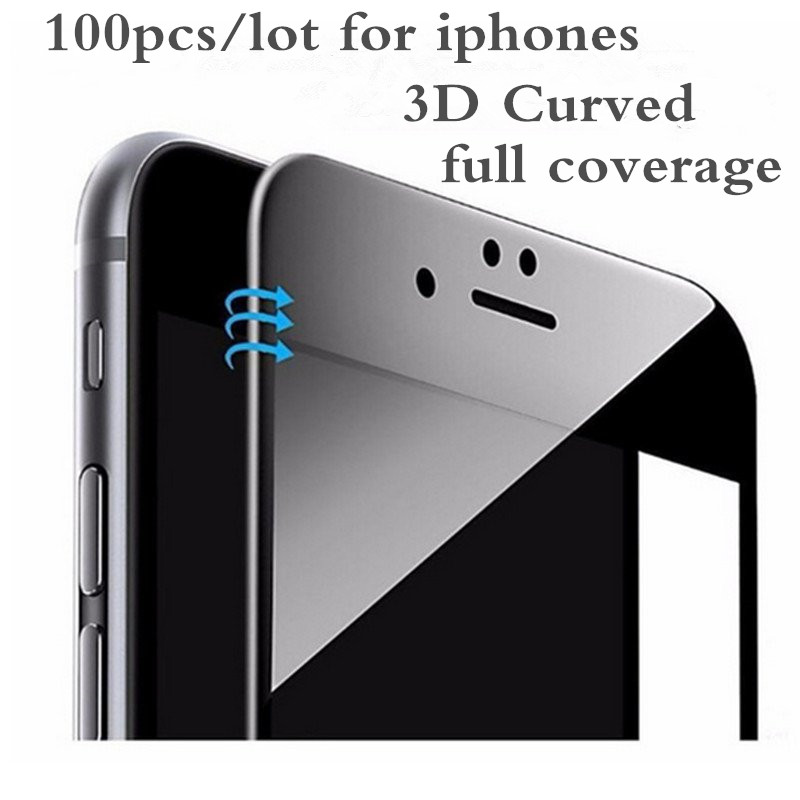 100 pièces 3D incurvé Fiber de carbone bord doux verre trempé pour iPhone 6 6 S 7 8plus téléphone Film protecteur d'écran pour iPhone 7 8 X